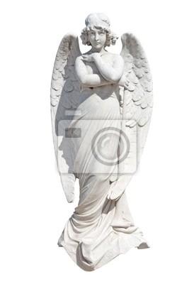 Plakat Posąg młodego anioła na białym z wycinek ścieżki
