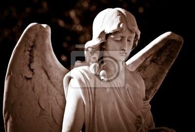 Plakat Posąg młodego anioła w odcieniach sepii