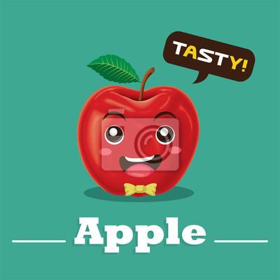 Postać z kreskówki stylu vintage wektor jabłko ilustracja