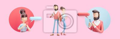 Plakat postać z kreskówki wysyła wiadomość ze swojego telefonu. Zestaw ilustracji 3d