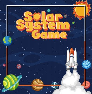 Plakat Poster design with spaceship and many planets in background