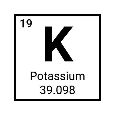 Plakat Potassium element periodic table symbol vector icon. Potassium chemistry element symbol