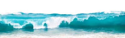 Plakat Powerful ocean blue waves with white foam isolated on a white background. Banner format.