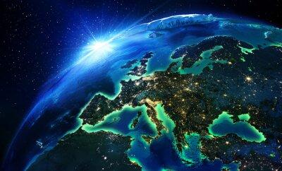 Plakat Powierzchnia gruntów w Europie noc