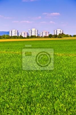 Powierzchnia obudowy w krajobrazu wiejskiego z pola