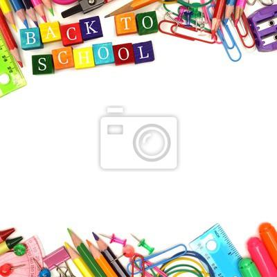2348094c8dc15 Plakat Powrót do szkoły drewniane klocki z przyborów szkolnych podwójne  obramowanie na białym