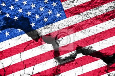 Plakat Praca, American flag na pęknięty tle