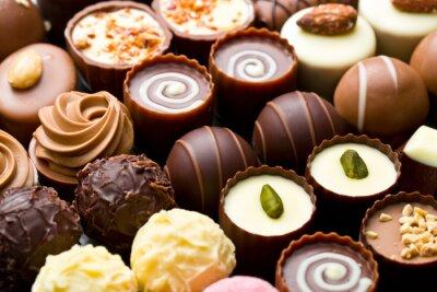 Plakat praliny czekoladowe odmiany