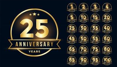 Plakat premium golden anniversary emblem set in line style
