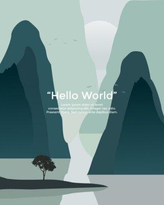 Plakat Premium vector banners with polygonal landscape illustration background