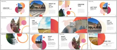 Plakat Presentation design vector templates, multipurpose template for presentation slide, flyer, brochure cover design, infographic report. Simple design background with circles, geometric round shapes.
