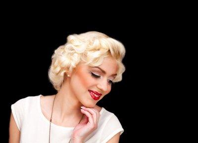 Plakat Pretty blond girl model like Marilyn Monroe in white dress with red lips