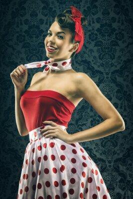 Plakat Pretty sexy kobieta w czerwonej sukni polka dot rocznika