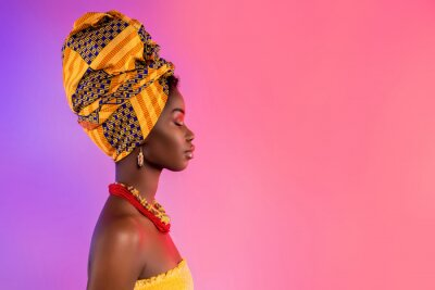 Plakat Profile side photo of stunning afro american lady look empty space wear traditional outfit isolated on glow background