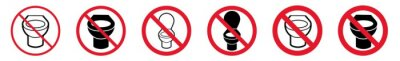 Plakat Prohibition Sign WC Restroom Forbidden Icon Set | Toilet Prohibition Signs Prohibited Vector Illustration Logo | Bathroom Prohibition Sign Isolated Collection