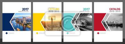 Plakat Projekt okładki dla raportu rocznego i katalogu biznesowego, czasopisma, ulotki lub broszury niebieski, żółty, czerwony i zielony. Układ szablonu broszury. Okładka A4 Ilustracja wektorowa próbki EPS-1