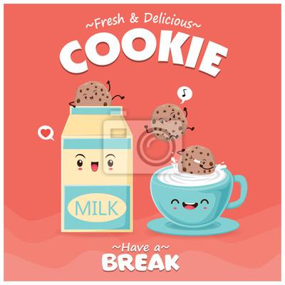 Projekt plakatu rocznika żywności z charakterem mleko i ciasteczka.