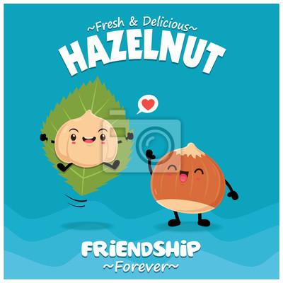 Projekt plakatu rocznika żywności z charakterem wektor Hazelnut.