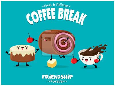 Projekt plakatu rocznika żywności z ciasto wektor, szwajcarski rolki, postaci kawy.
