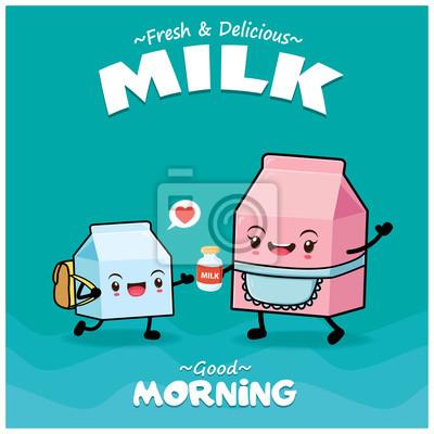 Projekt plakatu rocznika żywności z postaci mleka wektor.