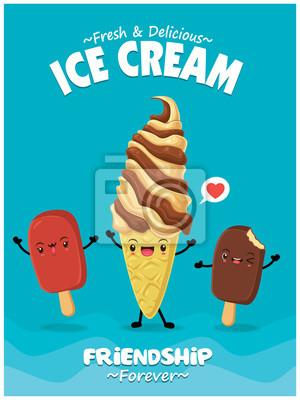 Projekt plakatu rocznika żywności z postaciami lodów wektor.
