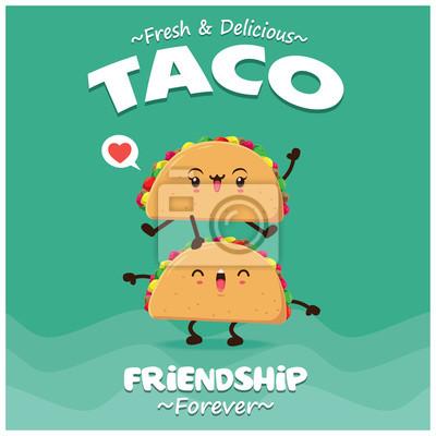 Projekt plakatu rocznika żywności z taco wektor znaków.