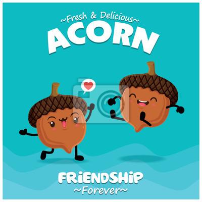 Projekt plakatu rocznika żywności z wektor Acorn charakter.