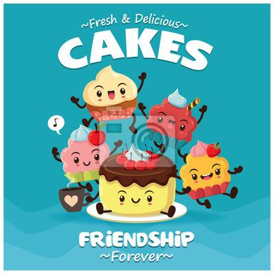 Projekt plakatu rocznika żywności z wektor ciasta, postaci z posypką.