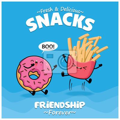 Projekt plakatu rocznika żywności z wektor frytki, pączki znaków.
