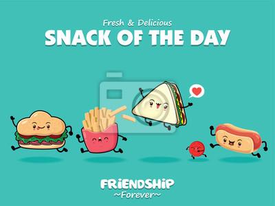 Projekt plakatu rocznika żywności z wektor kanapka, frytki, burger, hot doga, pomidor znaków.