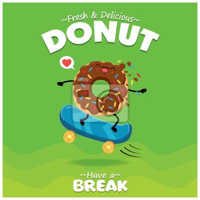 Projekt plakatu rocznika żywności z wektor pączki z deskorolka znaków.