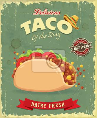 Projekt plakatu rocznika żywności z wektor Taco.