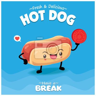 Projekt plakatu rocznika żywności z wektor znaków hot-doga.