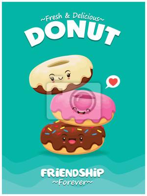 Plakat Projekt plakatu rocznika żywności z wektor znaków pączków.