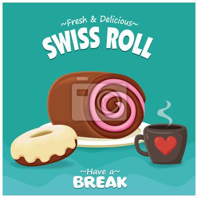 Projekt plakatu rocznika żywności z wektorowej szwajcarskiej rolki, pączki, kawa.