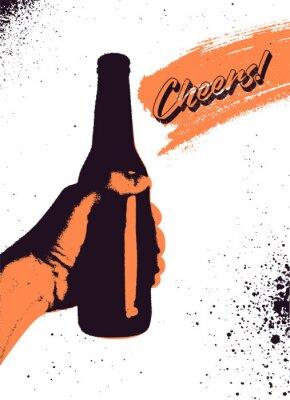 Plakat Projekt plakatu typograficzne styl piwa piwa. Ręka trzyma butelkę piwa. Ilustracja wektorowa retro.