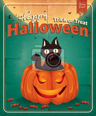 Projekt plakatu Vintage Halloween z dyni i kota
