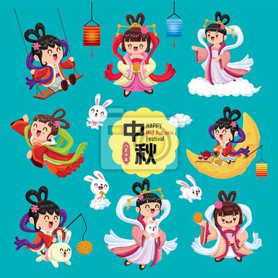 Projekt plakatu Vintage Mid Autumn Festival z chińską boginią księżyca i postacią królika. Tłumaczenie chińskie: Mid Autumn Festival. Pieczęć: Piętnaście sierpnia.