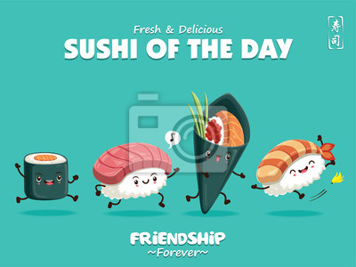 Projekt retro plakat Sushi z charakterem sushi wektora. Chińskie słowo oznacza sushi.