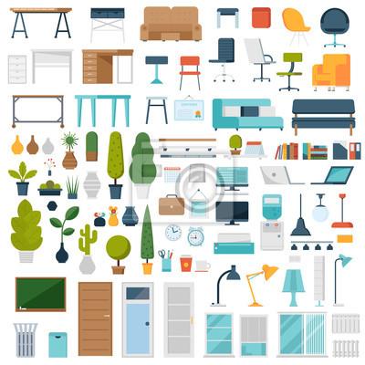Plakat Projektant wnętrz domu i biura z roślinami kreskówkowymi, meblami biurowymi, laptopami, dekoracjami i innymi elementami. Kreator twórca pracy firmy w Płaska konstrukcja.