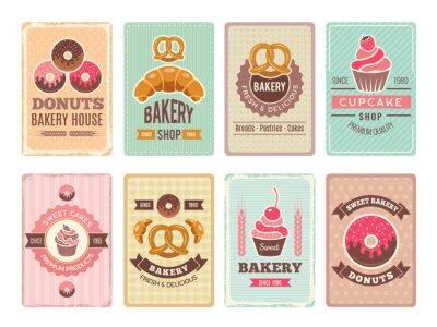 Plakat Projektowanie kart piekarniczych. Świezi słodcy foods babeczek donuts i inne wypiekowe produkty ilustracje dla rocznika wektorowego menu w retro stylu. Karta do pieczenia menu i cukiernia, pączek i ci