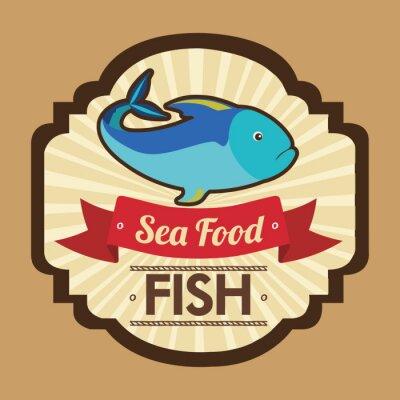Plakat projektowanie owoce morza ryby
