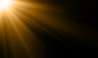 Plakat Promień światła lub promień słońca tło wektor. Streszczenie złoto światło blask błysk reflektor tło z złote światło słoneczne świecą na czarnym tle