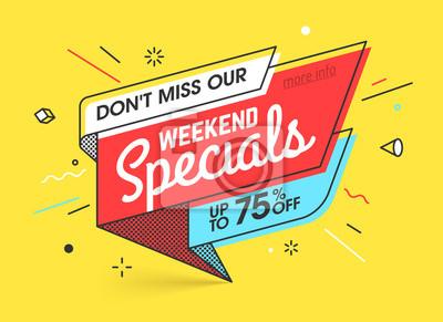 Plakat Promocje weekendowe, sprzedaż szablonów banerów w płaskich modnych geometrycznych memphis w stylu retro, lata 80. XX w. - plakat w stylu papieru, afisz, projekty banerów internetowych