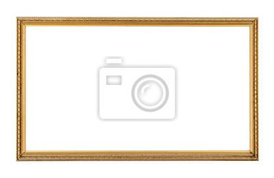 Plakat Prostokąt antyczny złota ramki samodzielnie na białym tle.Rectangle gold frame isolated.Golden ramki samodzielnie