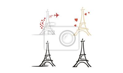 Plakat Prosty klip z Wieży Eiffla z inspiracją do projektowania logo Hart and Plane