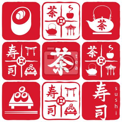 Plakat przedmioty dekoracyjne do kuchni orientalnej