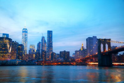 Plakat Przegląd Nowego Jorku z Brooklyn Bridge