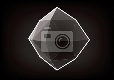 Przejrzysty wielokątny kryształ. Element graficzny do projektowania na czarnym tle
