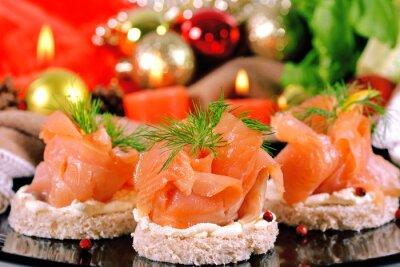 Plakat Przekąska wakacje z kanapki z łososia